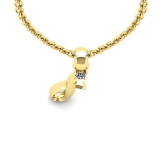 Diamond Initial Necklace, Letter I In Swirly Style, 14 Karat Yellow Gold