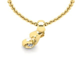 Diamond Initial Necklace, Letter J In Swirly Style, 14 Karat Yellow Gold