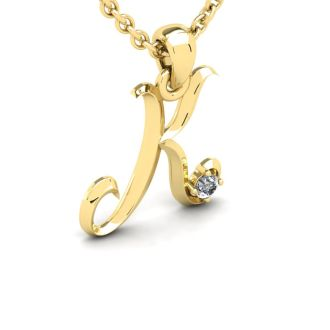 Diamond Initial Necklace, Letter K In Swirly Style, 14 Karat Yellow Gold
