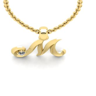 Diamond Initial Necklace, Letter M In Swirly Style, 14 Karat Yellow Gold