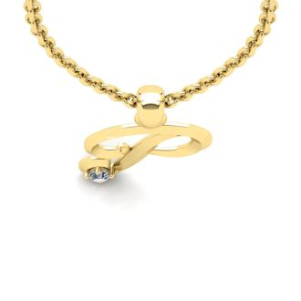 Diamond Initial Necklace, Letter P In Swirly Style, 14 Karat Yellow Gold