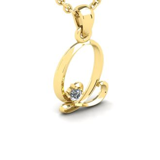 Letter Q Diamond Initial Necklace In 14 Karat Yellow Gold With Free Chain