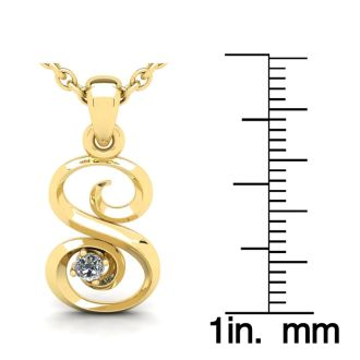 Diamond Initial Necklace, Letter S In Swirly Style, 14 Karat Yellow Gold