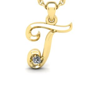 Diamond Initial Necklace, Letter T In Swirly Style, 14 Karat Yellow Gold