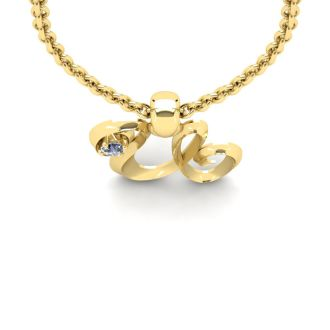 Letter U Diamond Initial Necklace In 14 Karat Yellow Gold With Free Chain