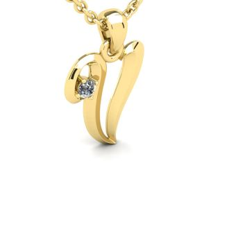 Diamond Initial Necklace, Letter V In Swirly Style, 14 Karat Yellow Gold