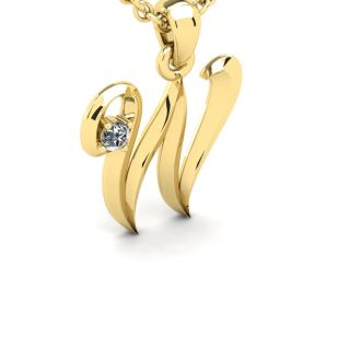 Diamond Initial Necklace, Letter W In Swirly Style, 14 Karat Yellow Gold
