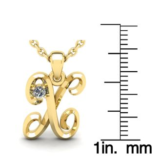 Letter X Diamond Initial Necklace In 14 Karat Yellow Gold With Free Chain