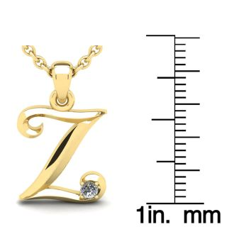 Letter Z Diamond Initial Necklace In 14 Karat Yellow Gold With Free Chain