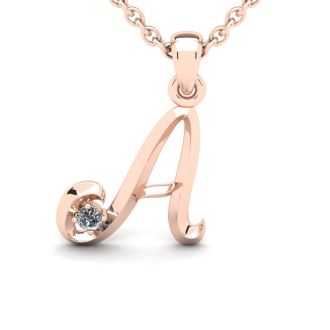Diamond Initial Necklace, Letter A In Swirly Style, 14 Karat Rose Gold