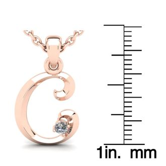 Diamond Initial Necklace, Letter C In Swirly Style, 14 Karat Rose Gold