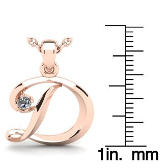 Diamond Initial Necklace, Letter D In Swirly Style, 14 Karat Rose Gold