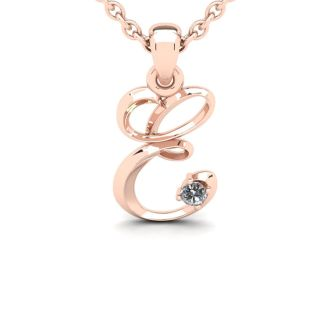 Diamond Initial Necklace, Letter E In Swirly Style, 14 Karat Rose Gold