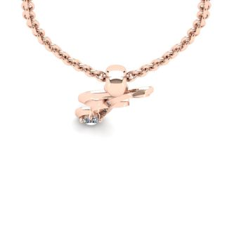 Diamond Accent F Swirly Initial Necklace In 14K Rose Gold With Free 18 Inch Cable Chain