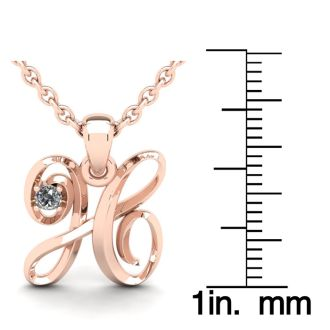 Diamond Initial Necklace, Letter H In Swirly Style, 14 Karat Rose Gold