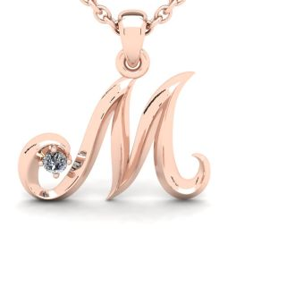 Diamond Initial Necklace, Letter M In Swirly Style, 14 Karat Rose Gold