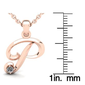 Letter P Diamond Initial Necklace In 14 Karat Rose Gold With Free Chain