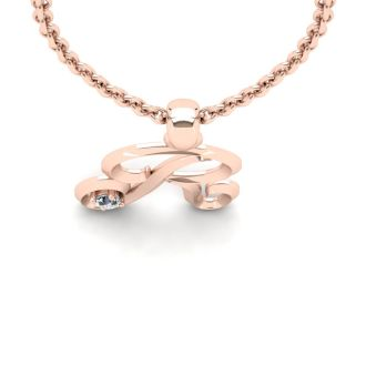 Diamond Initial Necklace, Letter R In Swirly Style, 14 Karat Rose Gold