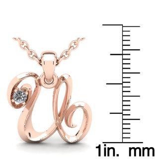 Diamond Initial Necklace, Letter U In Swirly Style, 14 Karat Rose Gold
