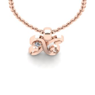 Diamond Initial Necklace, Letter X In Swirly Style, 14 Karat Rose Gold