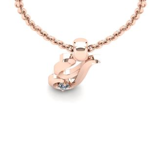 Diamond Initial Necklace, Letter Y In Swirly Style, 14 Karat Rose Gold