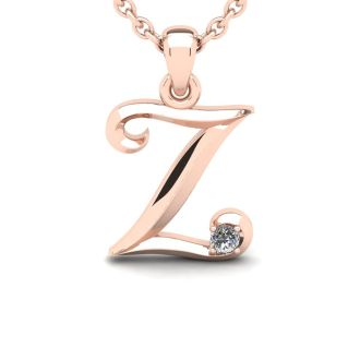 Diamond Initial Necklace, Letter Z In Swirly Style, 14 Karat Rose Gold
