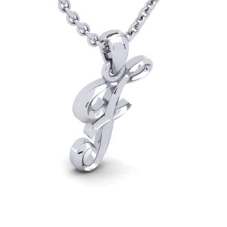 Letter F Swirly Initial Necklace In Heavy White Gold With Free 18 Inch Cable Chain