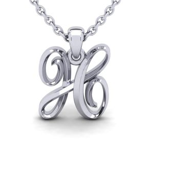 Letter H Swirly Initial Necklace In Heavy White Gold With Free 18 Inch Cable Chain