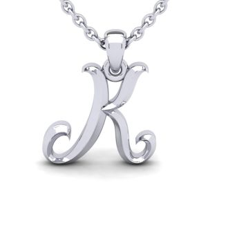 K Swirly Initial Necklace In Heavy White Gold With Free 18 Inch Cable Chain