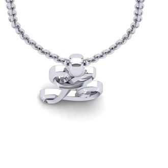 L Swirly Initial Necklace In Heavy White Gold With Free 18 Inch Cable Chain