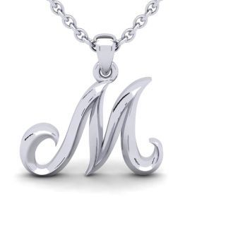 Letter M Swirly Initial Necklace In Heavy White Gold With Free 18 Inch Cable Chain