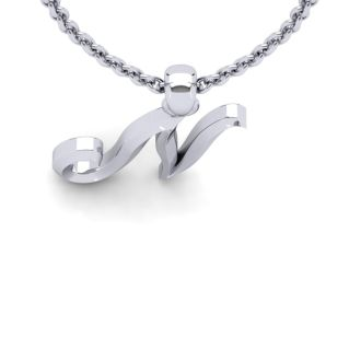 Letter N Swirly Initial Necklace In Heavy White Gold With Free 18 Inch Cable Chain