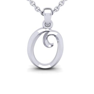 Letter O Swirly Initial Necklace In Heavy White Gold With Free 18 Inch Cable Chain