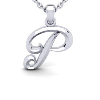 Letter P Swirly Initial Necklace In Heavy White Gold With Free 18 Inch Cable Chain