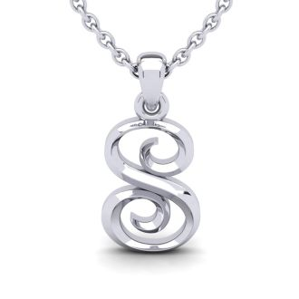 S Swirly Initial Necklace In Heavy White Gold With Free 18 Inch Cable Chain