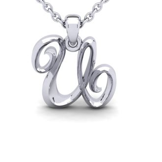 Letter U Swirly Initial Necklace In Heavy White Gold With Free 18 Inch Cable Chain