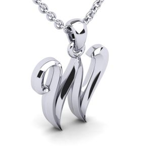 Letter W Swirly Initial Necklace In Heavy White Gold With Free 18 Inch Cable Chain