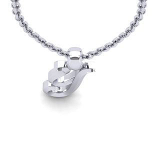 Y Swirly Initial Necklace In Heavy White Gold With Free 18 Inch Cable Chain