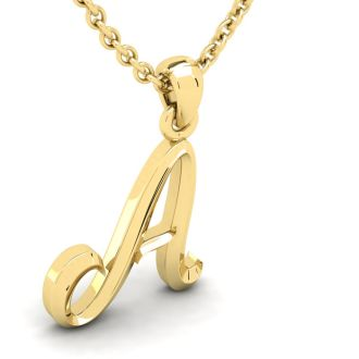 A Swirly Initial Necklace In Heavy Yellow Gold With Free 18 Inch Cable Chain