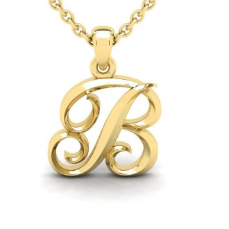 Letter B Swirly Initial Necklace In Heavy Yellow Gold With Free 18 Inch Cable Chain