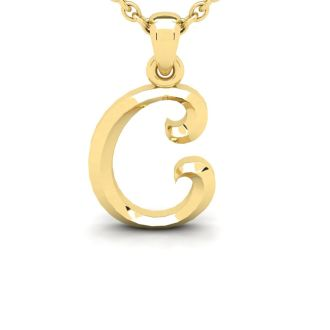 Letter C Swirly Initial Necklace In Heavy Yellow Gold With Free 18 Inch Cable Chain