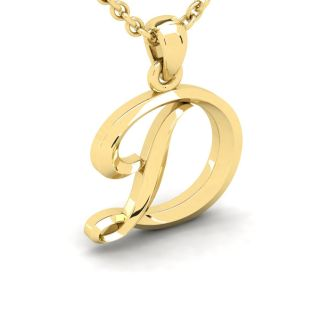 Letter D Swirly Initial Necklace In Heavy Yellow Gold With Free 18 Inch Cable Chain
