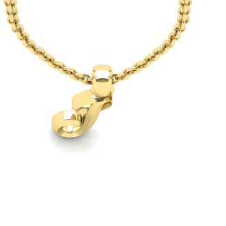 Letter J Swirly Initial Necklace In Heavy Yellow Gold With Free 18 Inch Cable Chain