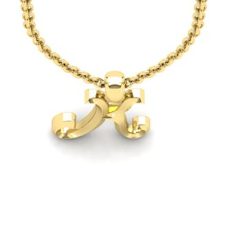 Letter K Swirly Initial Necklace In Heavy Yellow Gold With Free 18 Inch Cable Chain