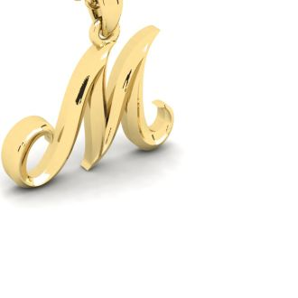 Letter M Swirly Initial Necklace In Heavy Yellow Gold With Free 18 Inch Cable Chain