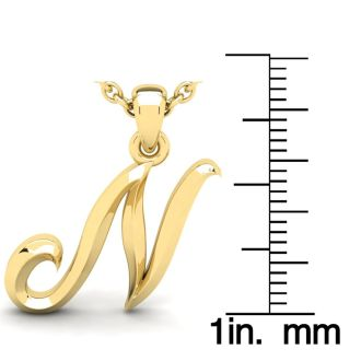 N Swirly Initial Necklace In Heavy Yellow Gold With Free 18 Inch Cable Chain