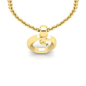 Letter O Swirly Initial Necklace In Heavy Yellow Gold With Free 18 Inch Cable Chain