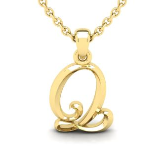 Q Swirly Initial Necklace In Heavy Yellow Gold With Free 18 Inch Cable Chain