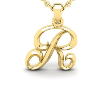 Letter R Swirly Initial Necklace In Heavy Yellow Gold With Free 18 Inch Cable Chain