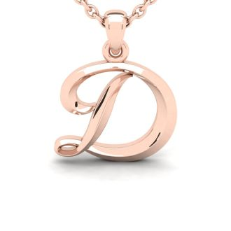 D Swirly Initial Necklace In Heavy Rose Gold With Free 18 Inch Cable Chain
